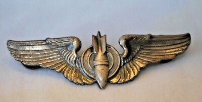 WWII US Military Sterling Silver WWII USAAF Bombardier Wing Pin Original 3""