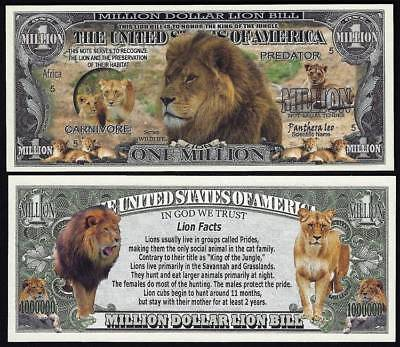 Lot of 100 Bills - Lion Preservation Million Dollar Novelty Bill with facts