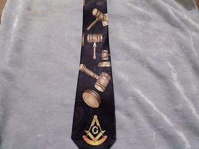 Black Necktie Past Master Gavel Masonic Blue Lodge Freemason Fraternity NEW!