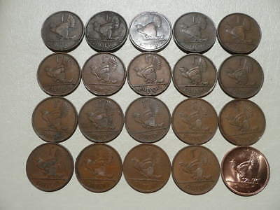 Lot of 20 One Penny Coins Irish of Ireland - no 1940 - 20 different dates!