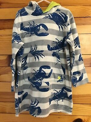 Mini Boden Lobster Hooded Toweling Throw-on Boys Striped Swim Cover-up Size 5-6Y