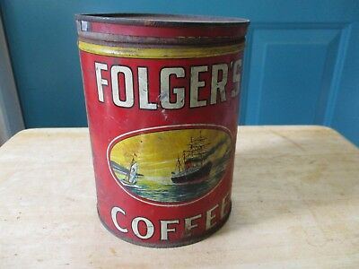 Old Folger's Coffee Can Tin 2-Pound Size with Lid