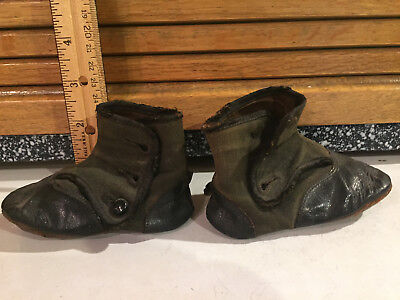 Antique Black Leather Toddler Shoes- 96 +Years Old