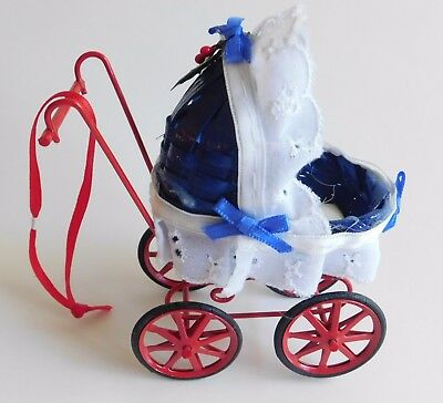 """Blue Basket Weave Red Metal Baby Buggy Old Fashioned Christmas Ornament 4""""x4"""""""