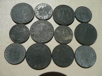 Lot of 12 Nazi Third Reich Germany Coins - No Reserve!