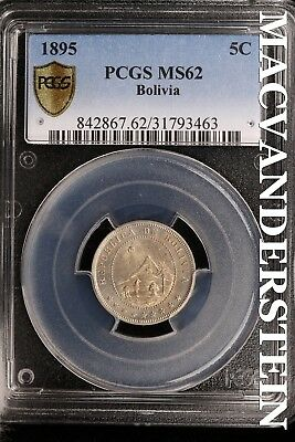 Bolivia: 1895 Five Centavos- Pcgs-Ms62 !! Gem Brilliant Uncirculated !! #sl16209