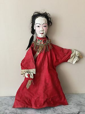 Antique Wooden ROD Puppet~Asian /Chinese~SIGNED! Real Hair