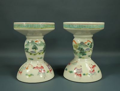 2 Chinese Famille Rose Candlesticks Hand Painted Boys Playing Games in Landscape