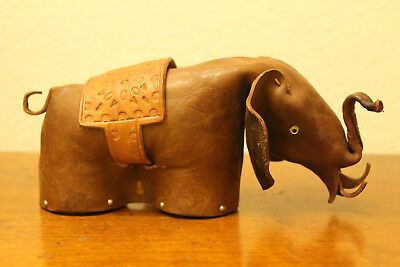 "Vintage Leather Elephant Bank With Vintage Zeus Padlock Abercrombie? Vintage 8""~"