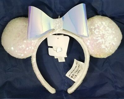 Disney Parks Minnie Mouse Ears Iridescent Bow Hat Headband Glitter White NEW
