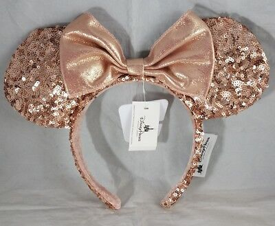 2177f028304 Disney Parks Minnie Mouse Ears Hat Headband Pink Sequin Pastel Rose Gold NEW