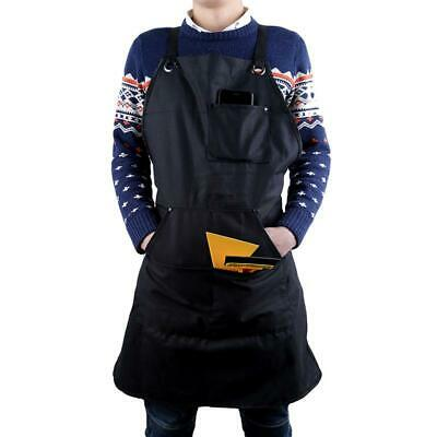Waxed Canvas Heavy Duty Work Apron with Pockets Black Adjustable Straps Q