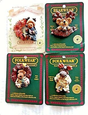 LOT 4 BOYDS RESIN MOOSE PINS~Mooselberry~Hirum~Hergatroid &Maxamong~NEW w/cards