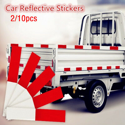 2/10Pcs DIY Red-White Truck Safe Warning Night Reflective Strip Tape Stickers HQ