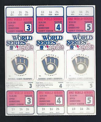 1982 World Series Full Unused Baseball Tickets Cardinals @ Brewers Games #3,4,5