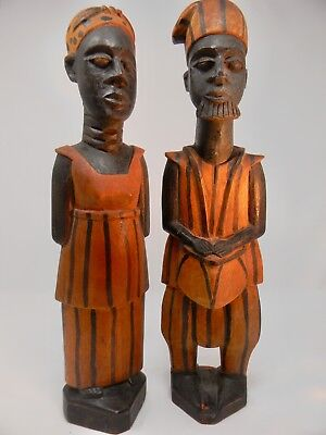 African Wooden Carved Statues Man Woman (husband and wife) , excellent condition