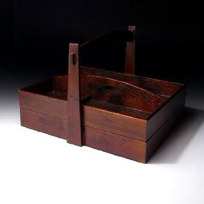 QE2: Vintage Japanese Lacquered Wooden Case for Small Article