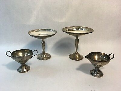 Pair of Weighted Sterling Silver Pedestal Candy Dishes w Creamer & Sugar Bowl