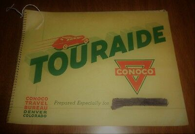 Vintage Conoco Touraide Gas Oil Travel Map Trip Guide Booklet Fort Atkinson WI
