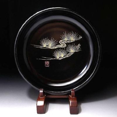 QS5: Vintage Japanese Lacquered Wooden Tea Plate, Natural wood, MAKIE, Pine tree