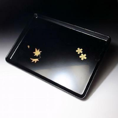 """MK5 Japanese Lacquered Wooden Serving tray, Gold MAKIE, Natural wood, 14.3"""""""