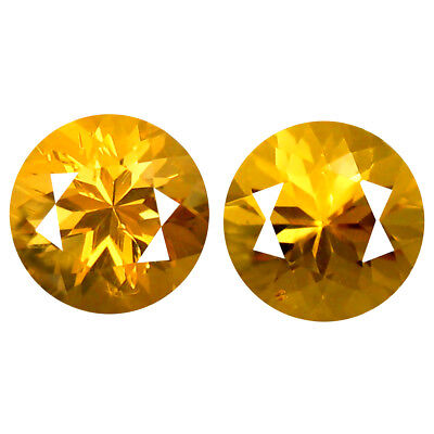1.18 ct (2 pcs) Marvelous Round Cut (6 x 6 mm) Golden Yellow Heliodor Beryl