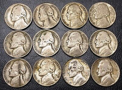 Lot of 12x Jefferson WarTime Silver 5 Cents Nickels - 1942 1943 1944 1945