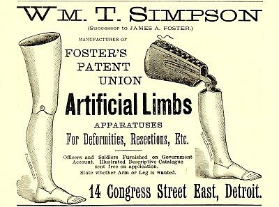 1880 William T. Simpson Artificial Limbs, Detroit, Michigan Advertisement