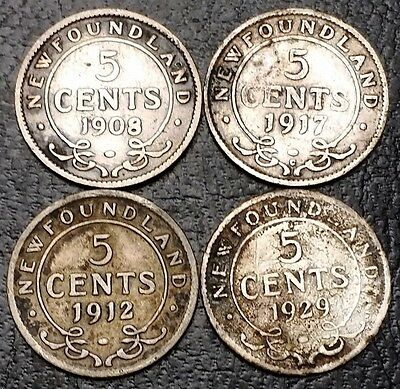 Lot of 4 Newfoundland 92.5% Silver 5 Cents Nickels - 1908, 1912, 1917c, 1929