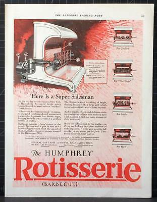 1926 Humphrey Radiantfire Rotisserie Barbecue Grill Hot Dogs Chicken  Steaks Ad