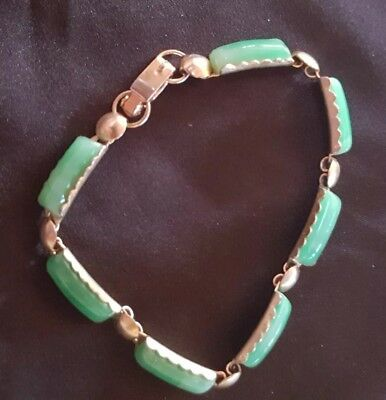 Vintage 19 cm Chinese Hand Carved Natural Stone Green Jade ? Gold Link Bracelet