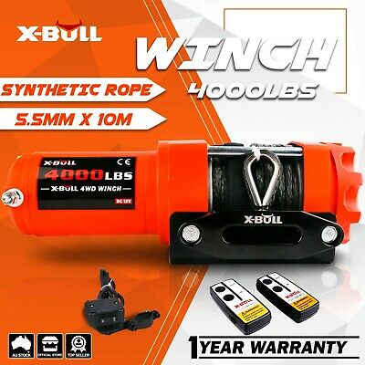 X-BULL Electric Winch 3000LBS/1360kg ATV 4WD Winch Steel Cable 2 REMOTES 12V