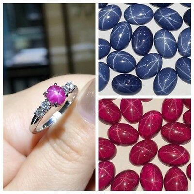7.00 CT Natural Ruby Star Sapphire 6 Buds Oval Cabochon Ring Size Loose Gemstone