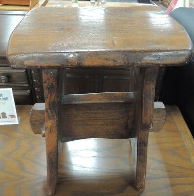 Farmhouse / Log Cabin Style Solid Oak Hand Carved Small Stool - K22