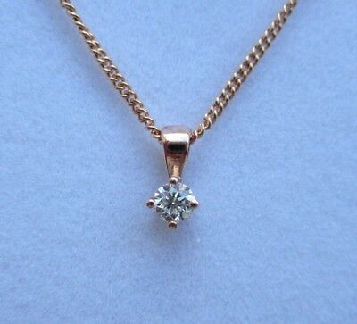 New 1/5ct Diamond Solitaire 9ct Rose Gold Pendant Necklace & Gold Chain £140