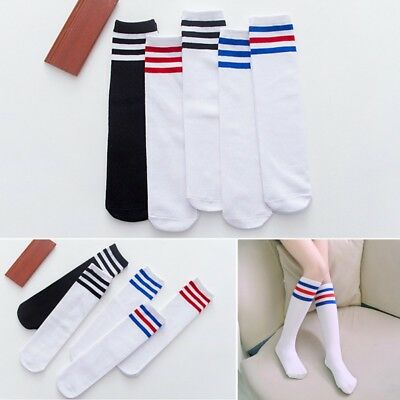 Baby Kids Knee High Warm Socks Boy Girl Toddler Rainbow Striped Tube Socks Soft