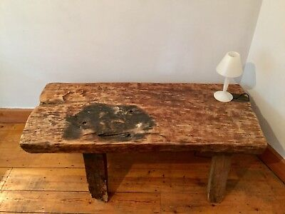 Antique Authentic elm pig bench/coffee table, legs worn, 126cmx52cm(D)x48cm(H)