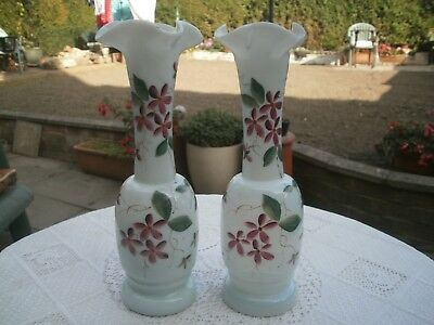 Victorian Antique Green Milk Glass Hand Blown, Hand Painted Flora pair of vases
