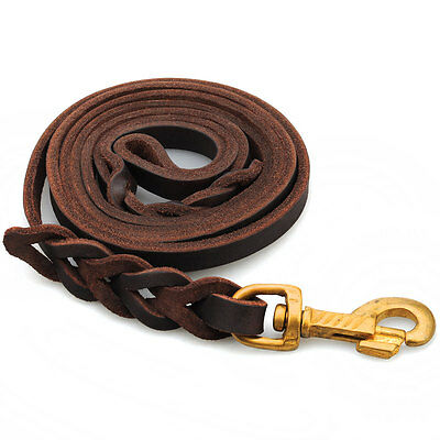 6.5 Foot- Braided Leather Dog Leash Heavy Duty Leads for Medium Large Dogs USA