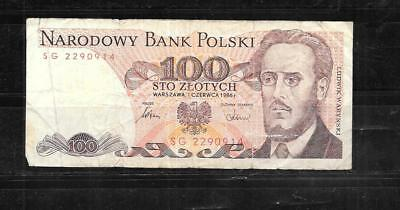 POLAND #143e 1986 VG CIRC 100 ZLOTYCH OLD bill BANKNOTE PAPER MONEY CURRENCY