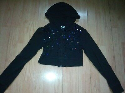 Justice Girls Black Sequin Hoodie Sweater Size 12