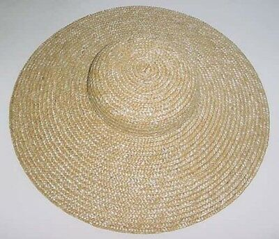 """Straw Hat Ladies 13"""" Low Crown 18th century reproduction"""