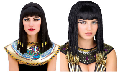 Ladies Egyptian Goddess Wig Black with Gold Tinsel Queen Cleopatra Fancy Dress