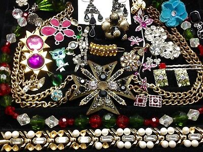 Lot Of Vintage~Retro Rhinestone, Crystal.. Jewelry For Repair/parts (E210)