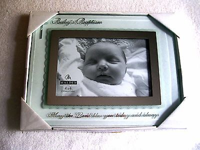 "Nib Malden 4""x6""  Baby's  Baptism  Photo Frame  Glass, With Silver Script"