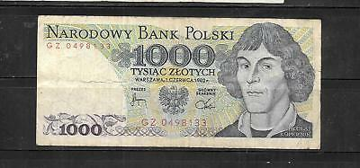 Poland #146C 1982 Vg Circ 1000 Zlotych Old Banknote Paper Money Currency Note