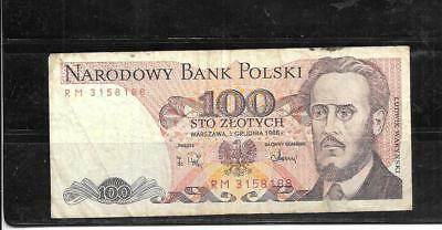 POLAND #143e 1988  VERY GOOD CIRC 100 ZLOTYCH OLD CURRENCY BANKNOTE PAPER MONEY