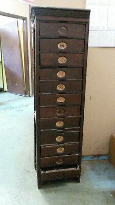Antique Wooden File Cabinet From 1800's - Dark Wood Tone 12 Drawers