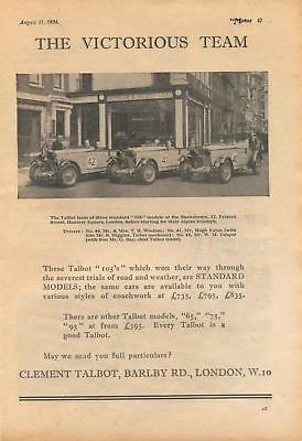 Talbot motor cars at Hanover Square, London - magazine advert from 1934