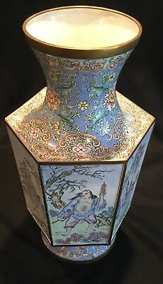 *NO RESERVE* Vintage Chinese Enamel on Copper Large 6 Sides Vase w/ Immortals